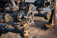 Oil and gas processing valve. With blue sky royalty free stock image