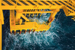 Oil and Gas Producing Slots at Offshore Platform Stock Image