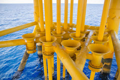 Oil and Gas Producing slots. At Offshore Platform, Oil and Gas Industry. Well head slot on the platform or rig. Production and Explorer industry Royalty Free Stock Photo
