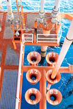 Oil and Gas Producing Slots at Offshore Platform. Oil and Gas Industry. Well head slot on the platform or rig. Production and Explorer industry Royalty Free Stock Photos
