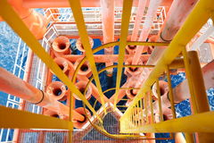 Oil and Gas Producing Slots at Offshore Platform. Oil and Gas Producing Slots at Offshore Platform, Oil and Gas Industry. Well head slot on the platform or rig Stock Images