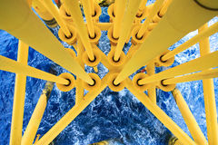 Oil and Gas Producing Slots at Offshore Platform, Oil and Gas Industry. Well head slot on the platform or rig Royalty Free Stock Image
