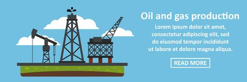 Oil and gas production banner horizontal concept. Flat illustration of oil and gas production banner horizontal vector concept for web stock illustration