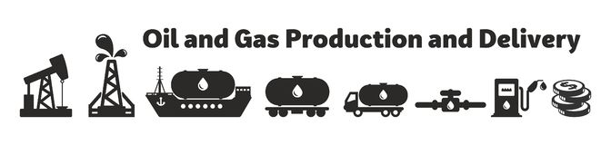 Oil and Gas Production and Delivery vector illustration