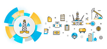 Oil and gas production industry header banner in circles element. Flat line vector design concept of oil and gas production industry process, petroleum product stock illustration