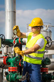 Oil and Gas Production Operator Stock Photo