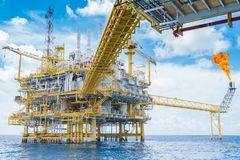 Offshore oil and gas production and exploration business in the gulf of Thailand. stock photos
