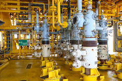 Oil and gas production slot on the platform, Well head control on oil and rig industry Royalty Free Stock Images