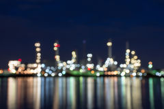 Oil and gas refinery Blurred Photo bokeh. Night, sunset, Thailand Royalty Free Stock Photo
