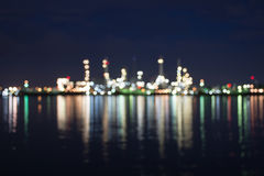 Oil and gas refinery Blurred Photo bokeh. Night, sunset, Thailand Royalty Free Stock Photography