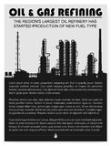 Oil and gas refinery or chemical plant silhouette. Magazine page or booklet layout. Detail vector illustration with copyspace Stock Images
