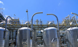 Oil and gas refinery column Royalty Free Stock Images