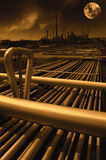 Oil and gas refinery at midnight Stock Photography