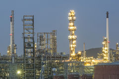 Oil and gas refinery in night, Thailand Stock Image