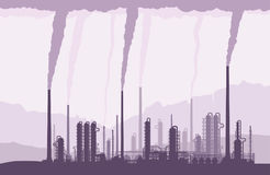 Oil and gas refinery owith smoking chimneys. Oil and gas refinery or chemical plant with smoking chimneys. Crude oil processing and refining. Vector illustration royalty free illustration