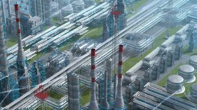 Oil and gas refinery plant factory with chemical formula design, isometric view, industry petroleum zone, pipe steel and