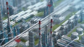Oil and gas refinery plant factory with chemical formula design, clear isometric view, defocus shot, industry petroleum