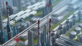 Oil and gas refinery plant factory, clear isometric view, defocus shot, industry petroleum zone, pipe steel and oil