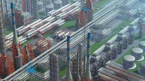 Oil and gas refinery plant factory, clear isometric view, orange, red industry petroleum zone, pipe steel and oil stock illustration
