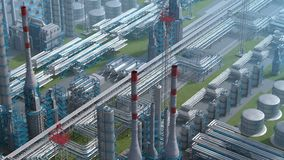 Oil and gas refinery plant factory, clear isometric view, industry petroleum zone, pipe steel and oil storage tank
