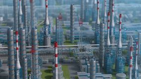 Oil and gas refinery plant factory, orbit view, defocus shot, industry petroleum zone, pipe steel and oil storage tank stock illustration