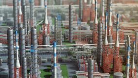 Oil and gas refinery plant factory, orbit view, red orange defocus plan, industry petroleum zone, pipe steel and oil