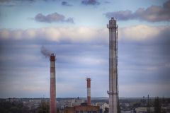 Plant or petrochemical industry on sky sunset background, Factory with evening. Oil and gas refinery plant or petrochemical industry on sky sunset background stock photos