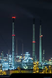 Oil and gas refinery plant at twilight. Royalty Free Stock Photos