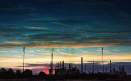 Oil Or Gas Refinery At Sunset Royalty Free Stock Images