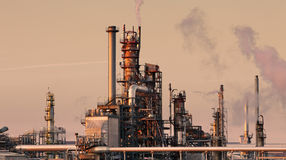 Oil and gas refinery at twilight - Petrochemical f Stock Image