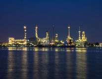 Oil and gas refinery at twilight time - Petrochemical factory Royalty Free Stock Photography