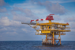 Oil and Gas remote wellhead platform for oil and gas business,looking from crew boat. Stock Image