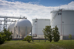 Oil and gas storage tanks stock photo