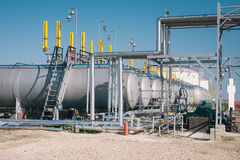 Oil and gas storage tanks Royalty Free Stock Photo