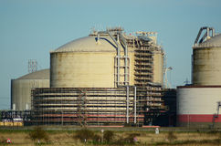 Oil/gas storage tanks and pipes Royalty Free Stock Photo