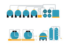 Oil gas storing in cargo service terminal flat vector illustration. Royalty Free Stock Images