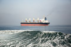 Oil and gas tanker ship in the ocean. Oil and gas tanker ship in the sea with wave royalty free stock image