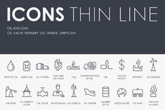 Oil and Gas Thin Line Icons stock illustration