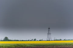 Oil and gas well rig, outlined rural canola field. Oil and gas well rig , outlined on rural canola field, on an overcast day Royalty Free Stock Image