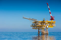 Oil and Gas wellhead remote platform at the Gulf of Thailand. Stock Image
