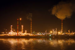 Oil and gas work industry factory at night Royalty Free Stock Photo