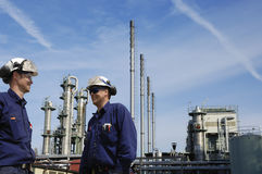 Oil and gas worker in front of refinery Royalty Free Stock Photography