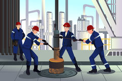 Oil and gas workers. A vector illustration of Oil and gas workers Stock Image