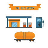 Oil and gasoline producing slots industry vector. Stock Photo