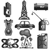 Oil And Gasoline Set Of Icons. In Realistic Black And White Graphic Vector Silhouette Design Stock Photography