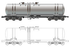 Oil / gasoline tanker car. Hi-detail rail oil/gasoline tanker car. Isolated on white background [for branding] with Clipping Path. Available EPS-8 format vector illustration