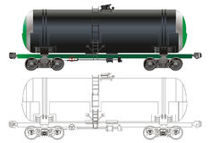 Oil / gasoline tanker car. Hi-detail rail oil/gasoline tanker car. Isolated on white background [for branding] with Clipping Path. Available EPS-8 format royalty free illustration