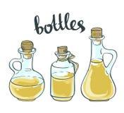 Oil Glass Bottles Isolated on White Background. Vector Set of Olive or Sunflower Oil Glass Bottles Isolated on White Background Stock Photography