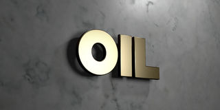 Oil - Gold sign mounted on glossy marble wall  - 3D rendered royalty free stock illustration Royalty Free Stock Images