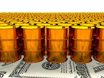 Of oil golden barrel background, 3d rendering Stock Photo